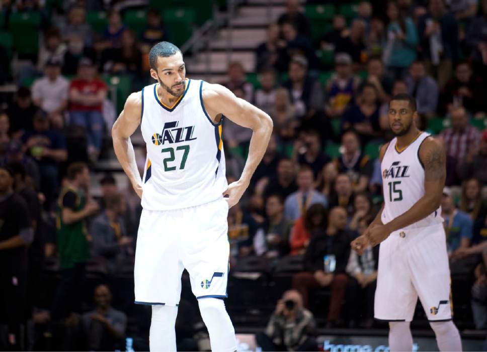 Lennie Mahler  |  The Salt Lake Tribune  Rudy Gobert takes center court before tip-off of a game between the Utah Jazz and the LA Clippers at Vivint Smart Home Arena, Monday, Feb. 13, 2017.