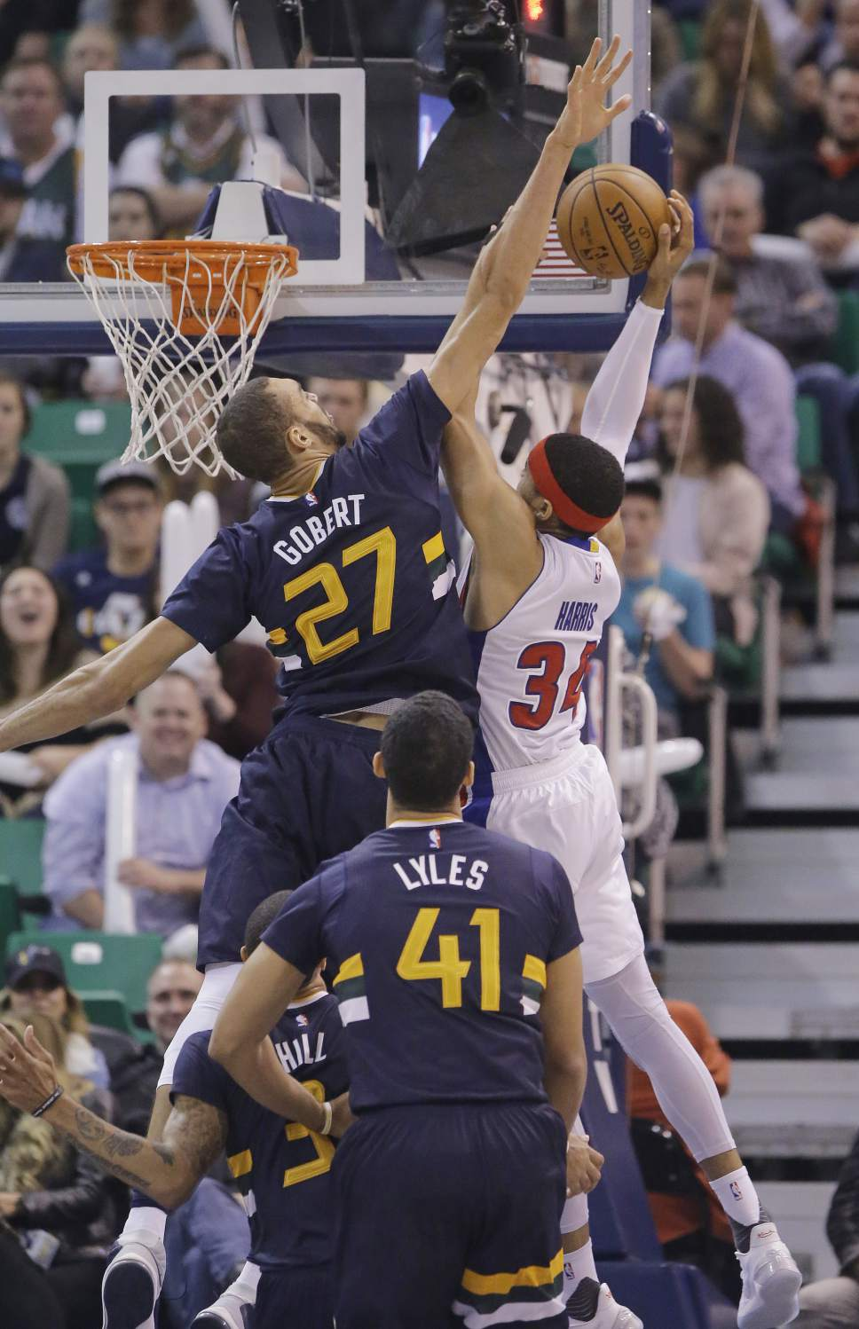 Utah Jazz center Rudy Gobert (27) defends against Detroit Pistons forward Tobias Harris (34) in the second half during an NBA basketball game Friday, Jan. 13, 2017, in Salt Lake City. The Jazz won 110-77. (AP Photo/Rick Bowmer)