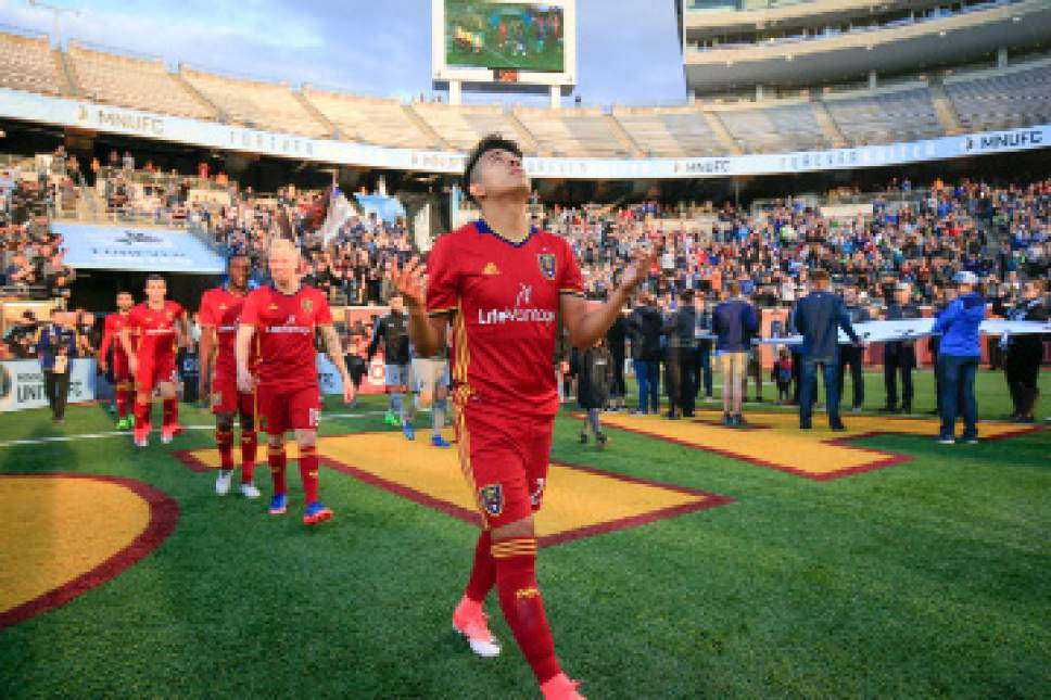 Real Salt Lake players take the field before the beginning of their match against Minnesota United FC at TCF Bank Stadium in Minneapolis, MN on Saturday, April 1, 2017. RSL lost the match 4-2. Courtesy Photo | Minnesota United FC