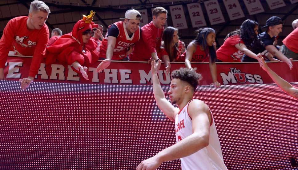 Leah Hogsten  |  The Salt Lake Tribune Utah Utes guard Devon Daniels (3) had 8 rebounds and 16 points. University of Utah's men's basketball team defeated University of Washington, 85-61 during their game, February 11, 2017 at Utah's Jon M. Huntsman Center.