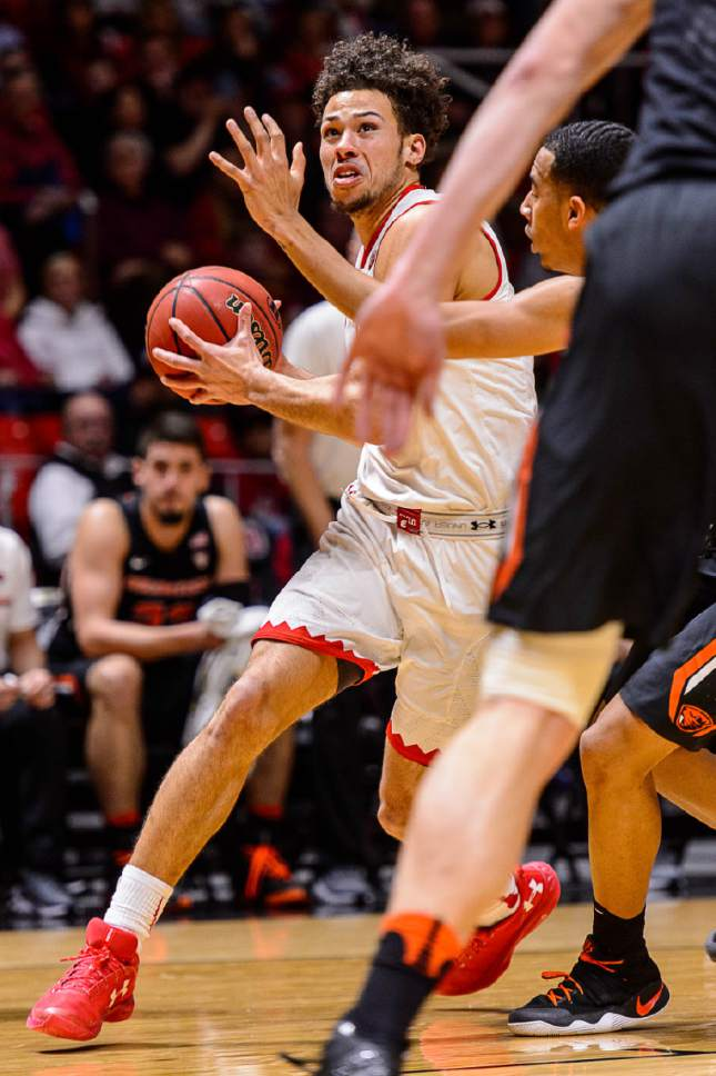 Trent Nelson  |  The Salt Lake Tribune Utah Utes guard Devon Daniels (3) with the ball as the University of Utah hosts Oregon State, NCAA basketball at the Huntsman Center in Salt Lake City, Saturday January 28, 2017.