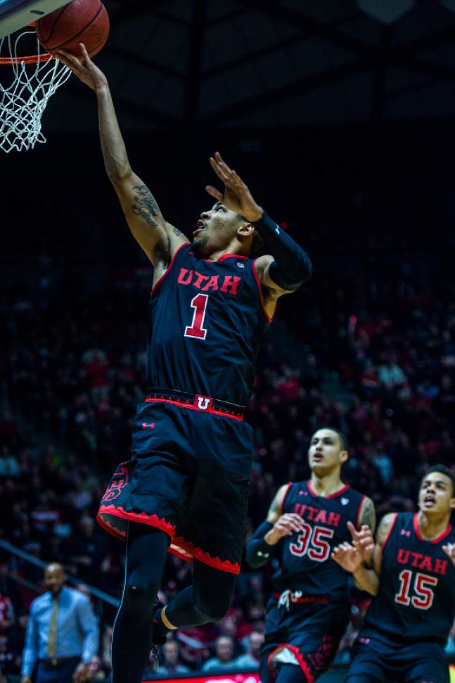 Chris Detrick  |  The Salt Lake Tribune Utah Utes guard JoJo Zamora (1) scores a basket during the game at the Huntsman Center Thursday March 2, 2017.