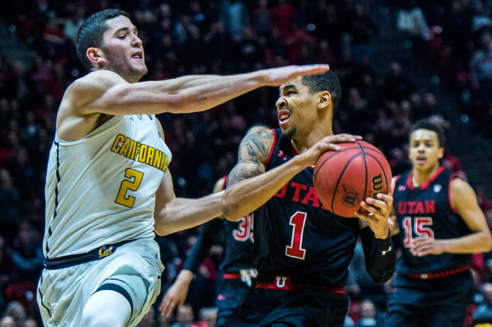 Chris Detrick  |  The Salt Lake Tribune Utah Utes guard JoJo Zamora (1) runs past California Golden Bears guard Sam Singer (2) during the game at the Huntsman Center Thursday March 2, 2017.