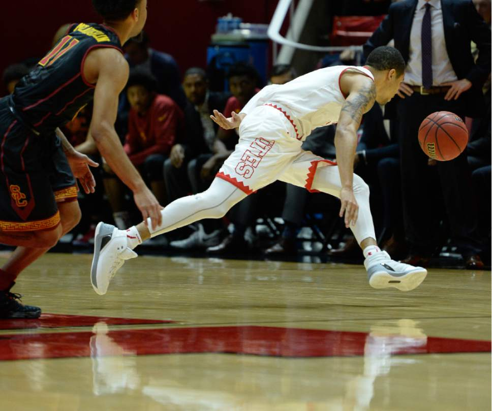 Francisco Kjolseth | The Salt Lake Tribune Utah Utes guard JoJo Zamora (1) chases down a ball against USC during the second half of the NCAA college basketball game at the Huntsman Center in Salt Lake City, Thursday, Jan. 12, 2017.