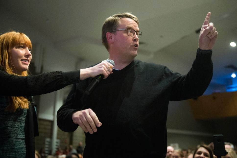 Chris Detrick  |  The Salt Lake Tribune Mike Keil, of Stansbury Park, asks a question to Rep. Chris Stewart during a town hall meeting at West High School Friday March 31, 2017.