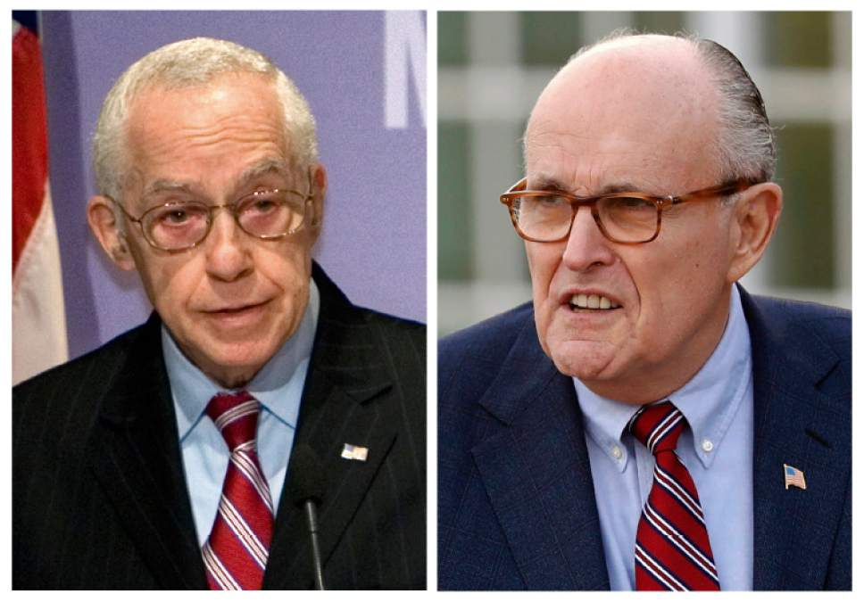 FILE - In this combination of file photos, then Attorney General Michael Mukasey, left, speaks at the U.S. Holocaust Memorial Museum in Washington on Dec. 16, 2008 and former New York Mayor Rudy Giuliani arrives for meetings with President-elect Donald Trump on Nov. 20, 2016, in Bedminster, N.J. A messy web of connections in a complex sanctions-busting case is raising troubling questions about potential conflicts of interest, corruption in Turkey and pro-Turkey lobbying by those close to the center of President Donald Trump's orbit. Reza Zarrab, a young business mogul married to a Turkish pop star, was arrested in Florida last year. Giuliani and Mukasey are among those helping him. Turkey is pressing the U.S. to get the case tossed. (AP Photo/J. Scott Applewhite, left, and Carolyn Kaster, Files)