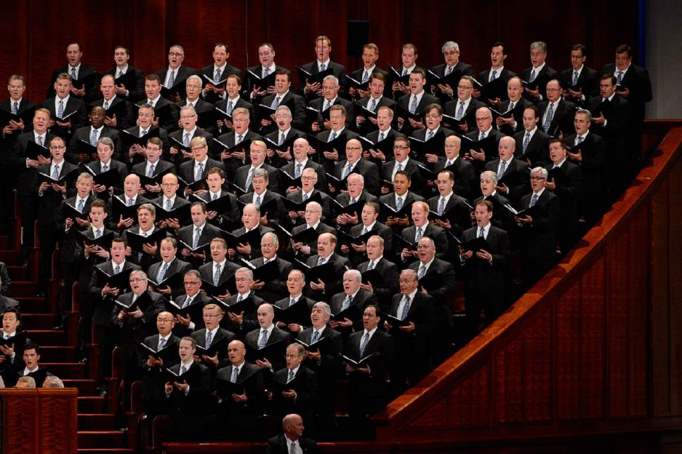 Trent Nelson  |  The Salt Lake Tribune The Mormon Tabernacle Choir during the morning session of the 187th Annual General Conference at the Conference Center in Salt Lake City, Sunday April 2, 2017.