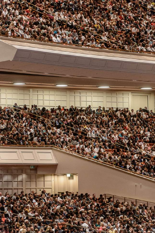 Trent Nelson  |  The Salt Lake Tribune Attendees at the morning session of the 187th Annual General Conference at the Conference Center in Salt Lake City, Sunday April 2, 2017.