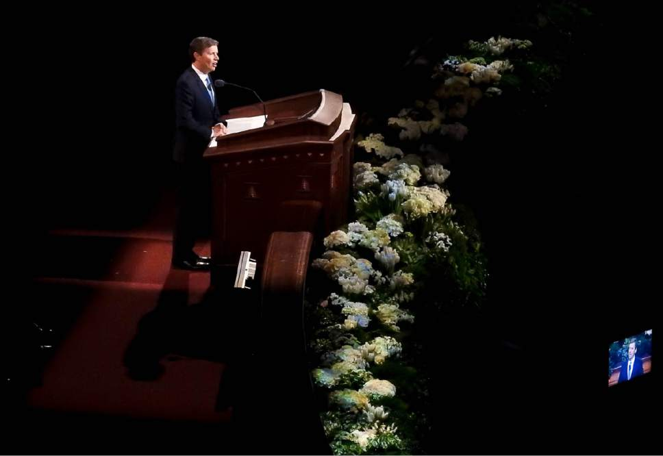 Trent Nelson  |  The Salt Lake Tribune Elder S. Mark Palmer speaks during the afternoon session of the 187th Annual General Conference at the Conference Center in Salt Lake City, Sunday April 2, 2017.