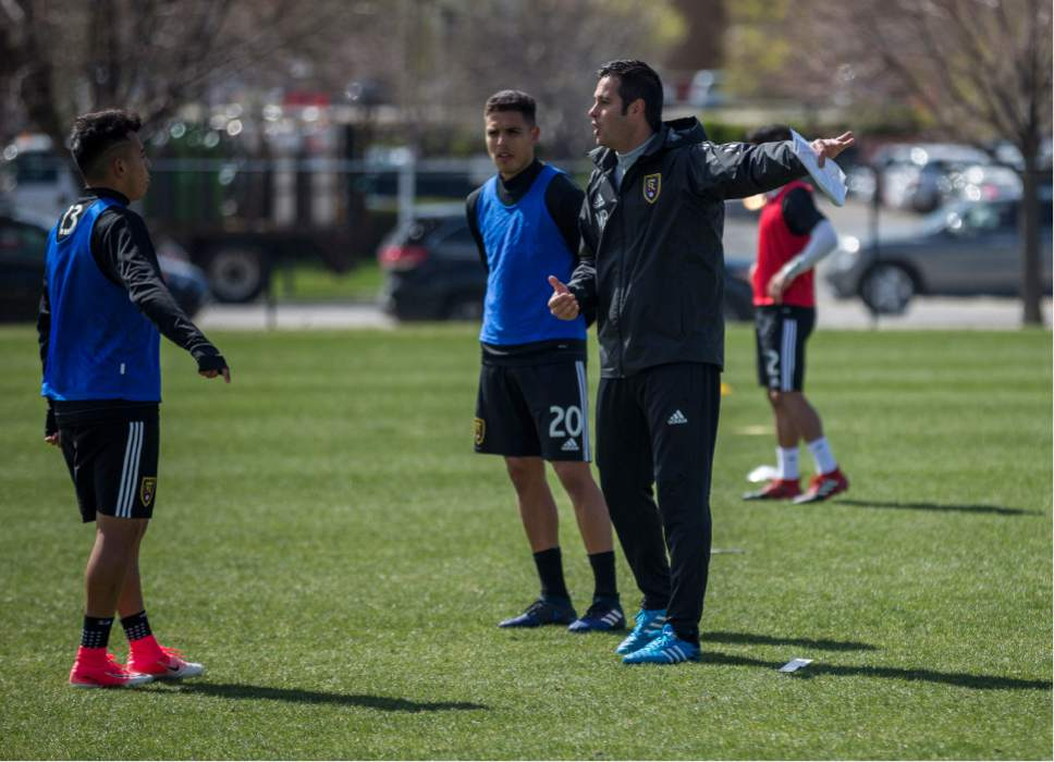 Robert Hitz  |  Real Salt Lake  Mike Petke conducts his first practice as Real Salt Lake's coach Tuesday.