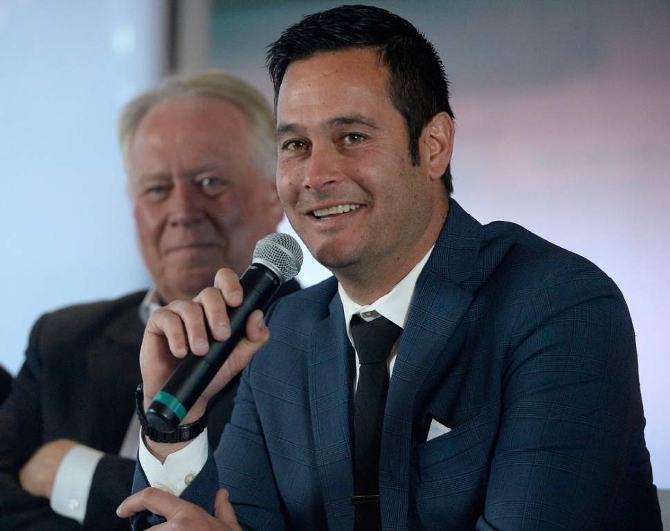 Al Hartmann  |  The Salt Lake Tribune Real Salt Lake's new coach Mike Petke  speaks during a news conference Wednesday March 29 at Rio Tinto Stadium.  Team owner Dell Loy Hansen, left.