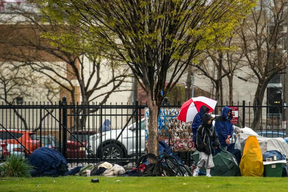 Chris Detrick  |  The Salt Lake Tribune Homeless men and women congregate on 500 West Thursday March 30, 2017.