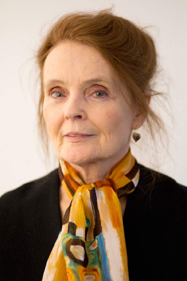 """In this March 9, 2017, photo, actress and playwright Katharine Houghton, who starred in the 1967 film """"Guess Who's Coming to Dinner"""" with Sidney Poitier, poses for photographs in New York. The film, which earned 10 Oscar nominations (winning two) and landed among the 100 greatest movies by the American Film Institute, is celebrating its 50th anniversary. (AP Photo/Mark Lennihan)"""