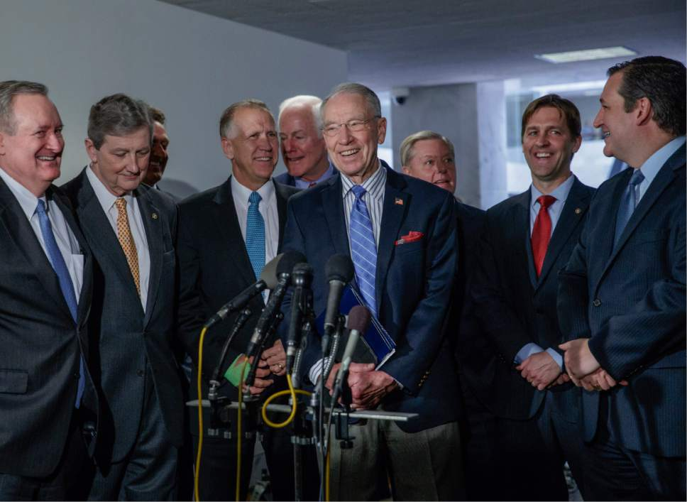 Senate Judiciary Committee Chairman Sen. Charles Grassley, R-Iowa, center, and GOP members of the panel, smile just after they voted in favor of President Donald Trump's Supreme Court pick Neil Gorsuch and to send the nomination to Senate floor for debate and vote, Monday, April 3, 2017, on Capitol Hill in Washington. From left are, Sen. Mike Crapo, R-Idaho, Sen. John Kennedy, R-La., Sen. Thom Tillis, R-N.C., Sen. John Cornyn, R-Texas, Grassley, Sen. Lindsey Graham, R-S.C., Sen. Ben Sasse, R-Neb. and Sen. Ted Cruz, R-Texas.  (AP Photo/J. Scott Applewhite)