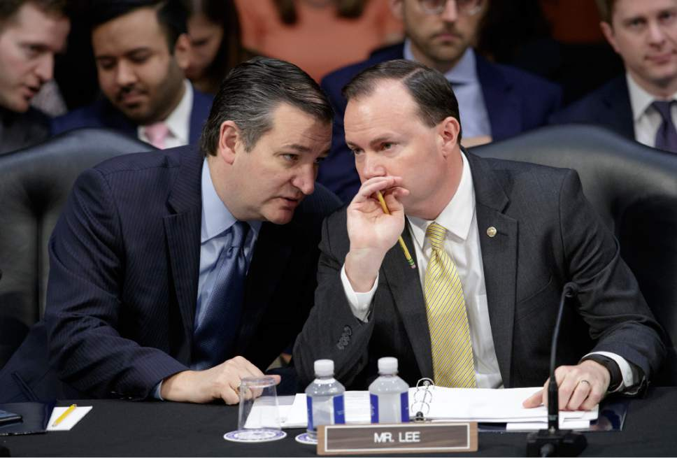 Senate Judiciary Committee members, Sen. Ted Cruz, R-Texas, left, and Sen. Mike Lee, R-Utah, confer on Capitol Hill in Washington, Monday, April 3, 2017, as the committee met to advance the nomination of President Donald Trump's Supreme Court nominee Neil Gorsuch. (AP Photo/J. Scott Applewhite)