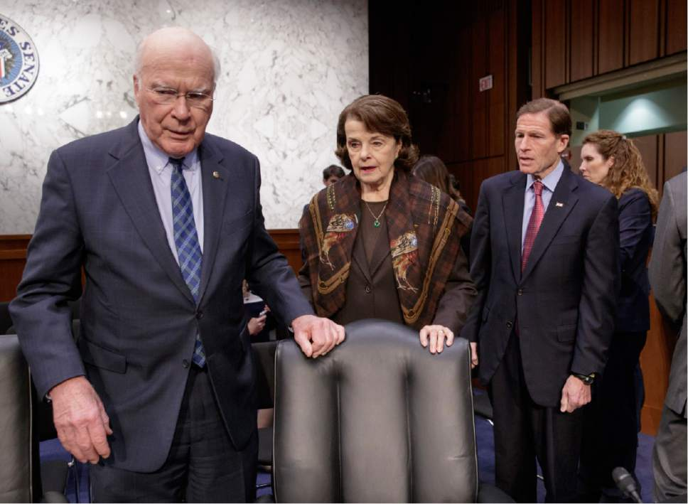 Democratic members of the Senate Judiciary Committee, from left, Sen. Patrick Leahy, D-Vt., the committee's ranking member Sen. Dianne Feinstein, D-Calif. and Sen. Richard Blumenthal, D-Conn. arrive on Capitol Hill in Washington, Monday, April 3, 2017, as the committee meets to advance the nomination of President Donald Trump's Supreme Court nominee Neil Gorsuch. (AP Photo/J. Scott Applewhite)