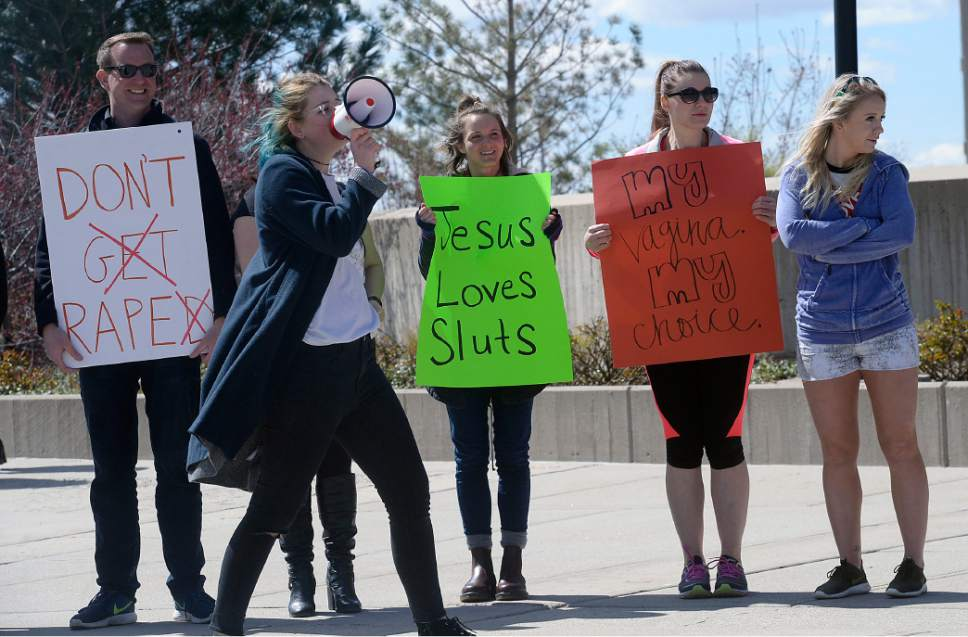Al Hartmann  |  The Salt Lake Tribune About thirty University of Utah students gather at the Marriot Library Plaza Tuesday April 4 to make posters and participate in the University of Utah SL, UT Walk.  It was held to eduacate and help fight against sexual assault and violence.