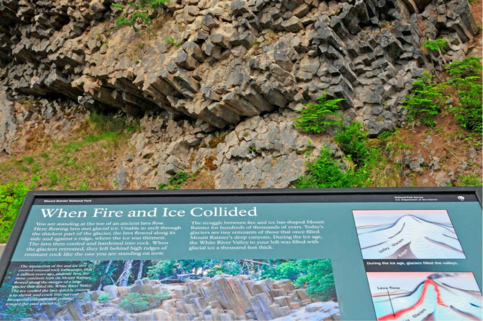 This Sept. 6, 2008 photo provided by John Chao shows the Fire & Ice sign in Mount Rainier National Park in Washington. Photographer John Chao captured this good example of how interpretive signs work best: this panel in the park is placed in front of the geological feature it describes, so visitors can see the landscape and read about it at the same time. (John Chao via AP)