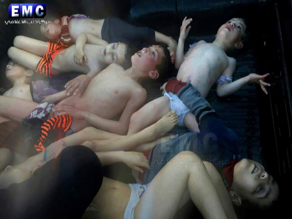 EDS NOTE GRAPHIC CONTENT -- This photo provided Tuesday, April 4, 2017 by the Syrian anti-government activist group Edlib Media Center, which has been authenticated based on its contents and other AP reporting, shows children following a suspected chemical attack, at a makeshift hospital, in the town of Khan Sheikhoun, northern Idlib province, Syria. The suspected chemical attack killed dozens of people on Tuesday, Syrian opposition activists said, describing the attack as among the worst in the country's six-year civil war. (Edlib Media Center, via AP)