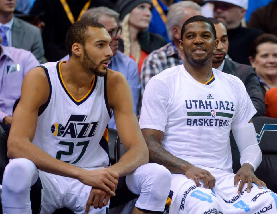Steve Griffin     The Salt Lake Tribune   Utah Jazz center Rudy Gobert (27) and Utah Jazz forward Joe Johnson (6) watch the last few minutes of the game from the bench as the Utah Jazz defeated the Portland Trailblazers at Vivint Smart Home Arena in Salt Lake City Tuesday April 4, 2017.
