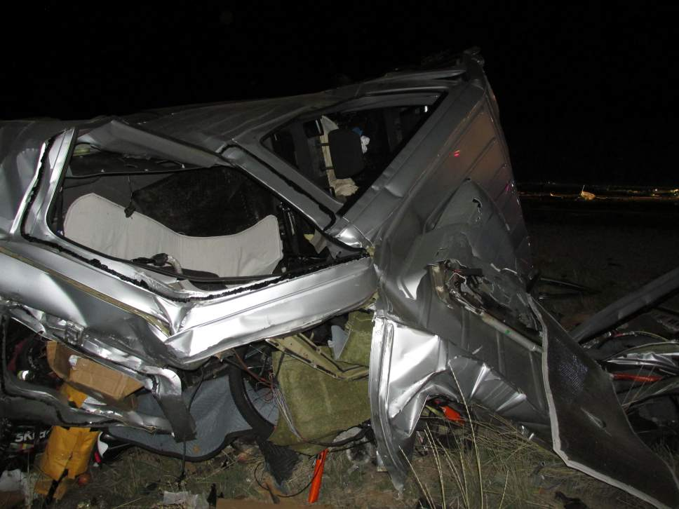 Photo courtesy of Utah Highway Patrol  Two people, one of them noted cyclist Stephen Tilford, died in a crash early Wednesday morning on Interstate 70 involving two semis and a van.