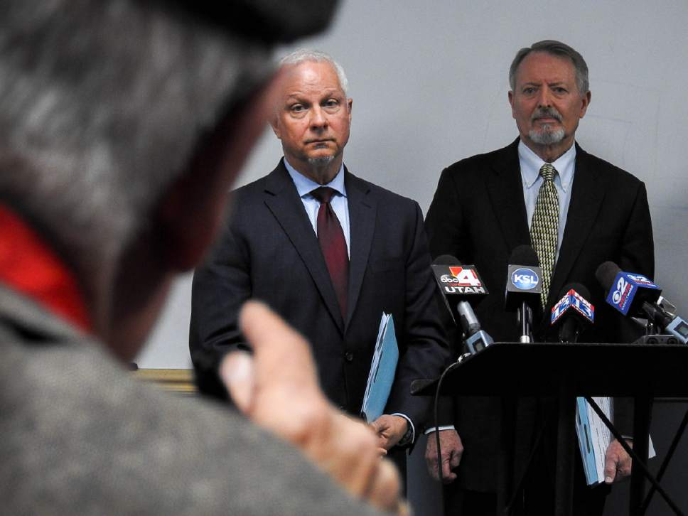 Trent Nelson  |  The Salt Lake Tribune UTA CEO and President Jerry Benson and Board Chair Robert McKinley take questions as Utah Transit Authority officials hold a news conference to discuss an ongoing federal investigation and reforms they have enacted, at UTA headquarters in Salt Lake City, Tuesday April 4, 2017.