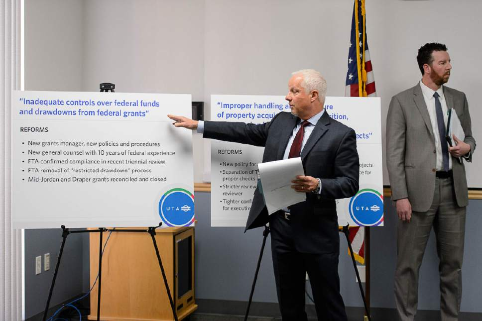 Trent Nelson  |  The Salt Lake Tribune UTA CEO and President Jerry Benson speaks as Utah Transit Authority officials hold a news conference to discuss an ongoing federal investigation and reforms they have enacted, at UTA headquarters in Salt Lake City, Tuesday April 4, 2017. At right is UTA General Counsel Jayme Blakesley.