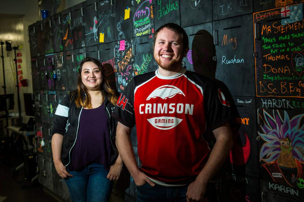 Chris Detrick  |  The Salt Lake Tribune Crimson Gaming Director Angie Klingsieck and Crimson Gaming Competitive Director Jordan Runyan pose for a portrait at the University of Utah Wednesday, April 5, 2017.  Utah esports will compete in multiple games and has confirmed League of Legends as its first game with additional games to be announced shortly. The esports program is the first of its kind from a school out of the Power Five athletics conferences (Pac-12, Big Ten, Big 12, Atlantic Coast and Southeastern).