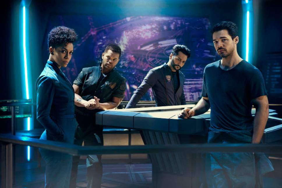 "Kurt Iswarienko  |  Syfy  Dominique Tipper as Naomi Nagata, Wes Chatham as Amos Burton, Cas Anvar as Alex Kamal, Steven Strait as James Holden in ""The Expanse."""