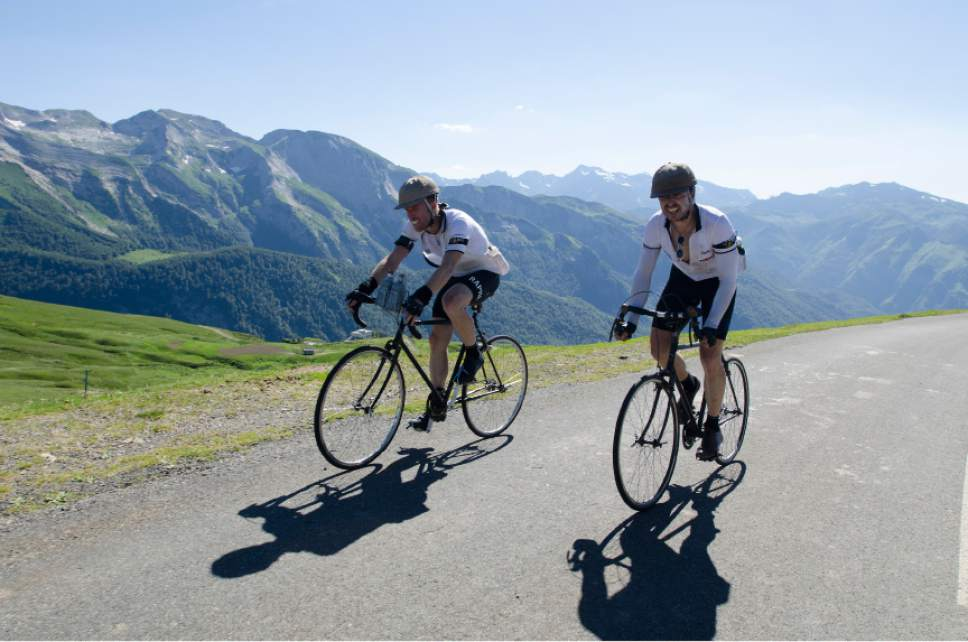 "Ben Cornell and Phil Keoghan cycle through France in ""Le Ride.""  Courtesy of Doug Jensen"