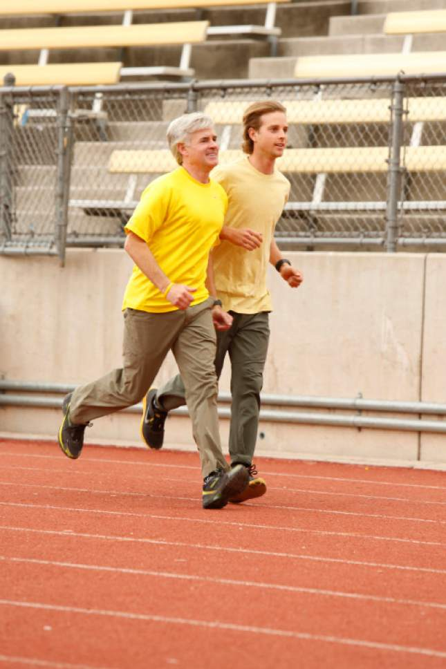 "Utah father/son team David (left) and Connor (right) O'Leary compete on ""The Amazing Race"" in a past season. Robert Voets 
