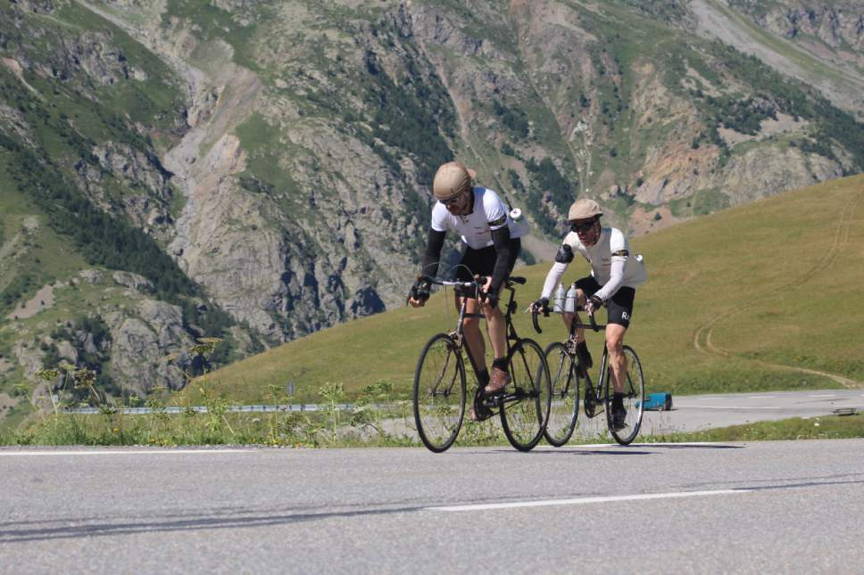 Phil Keoghan and Ben Cornell cycle through France in ìLe Ride.î Courtesy of John Keoghan