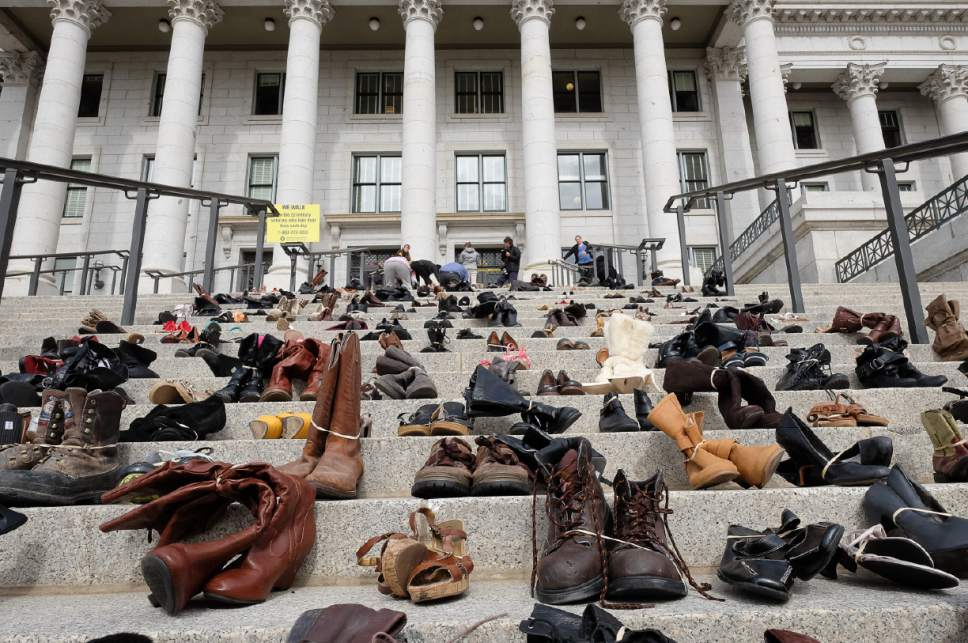 Francisco Kjolseth | Tribune file photo The Utah Capitol steps were covered with 600 pairs of shoes in February , representing the lives lost to suicide in 2016. With teen suicide rates rising, the Centers for Disease Control and Utah Department of Health support collecting data on sexual orientation among Utah high schools students, but key school districts have blocked the move, deeming the issue too sensitive for a school survey.
