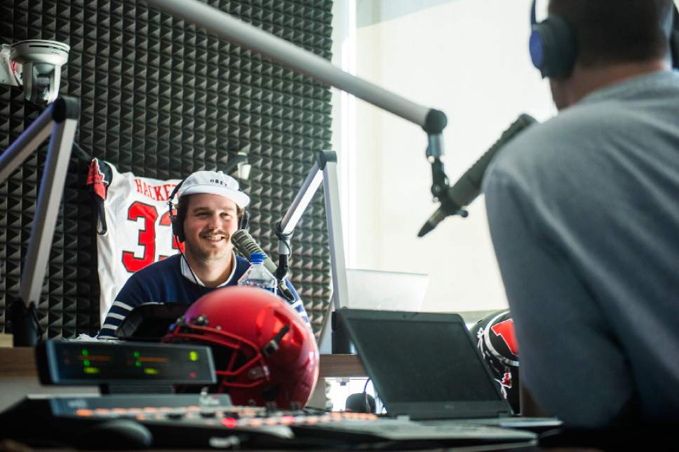 Chris Detrick  |  The Salt Lake Tribune Tom Hackett talks with Sean O'Connell on their ESPN 700 radio show at Broadway Media in Salt Lake City Tuesday, April 4, 2017.