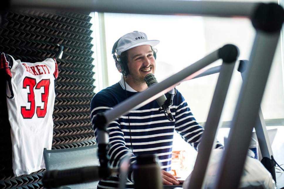 Chris Detrick  |  The Salt Lake Tribune Tom Hackett talks on his ESPN 700 radio show at Broadway Media in Salt Lake City Tuesday, April 4, 2017.