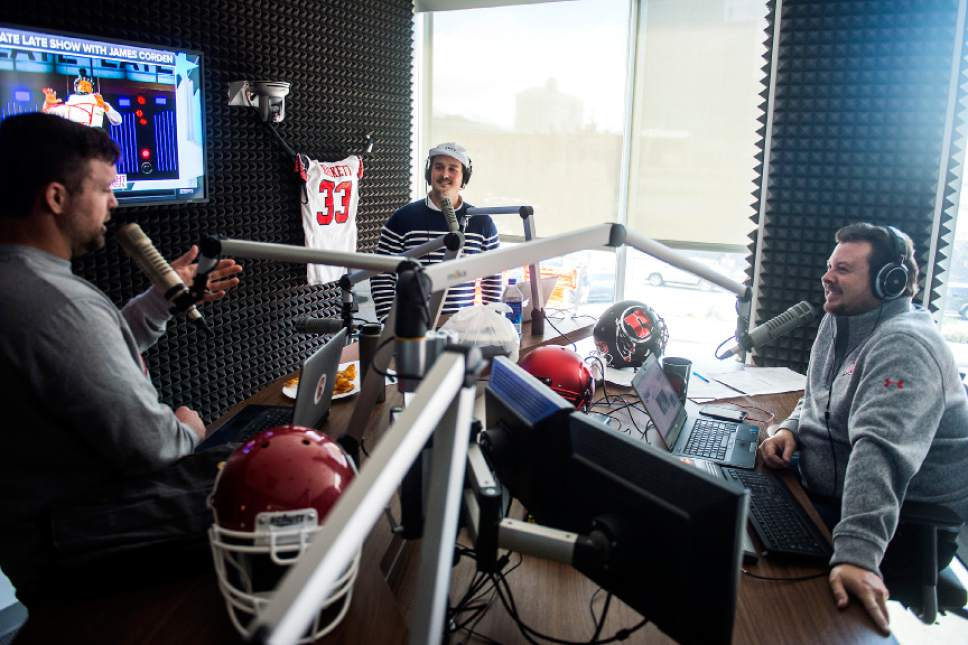 Chris Detrick  |  The Salt Lake Tribune Tom Hackett talks with Sean O'Connell and Bill Riley on their ESPN 700 radio show at Broadway Media in Salt Lake City Tuesday, April 4, 2017.