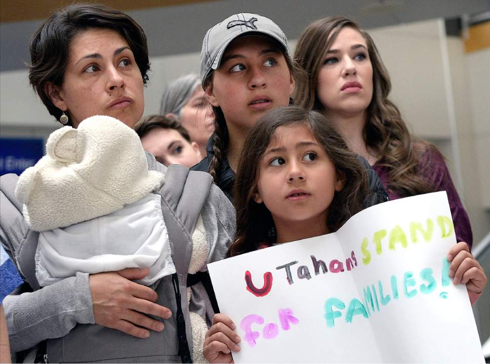 Al Hartmann  |  The Salt Lake Tribune Mormon women and other concerned citizens gather at the Salt Lake City Airport in a show of solidarity for an area woman, Betty Ramos Castro, who has been ordered to leave the United States by ICE agents.  ICE  escorted her onto a flight bound for Colombia. Castro is a single mother and is the sole caretaker for her disabled son and her 86-year-old mother.