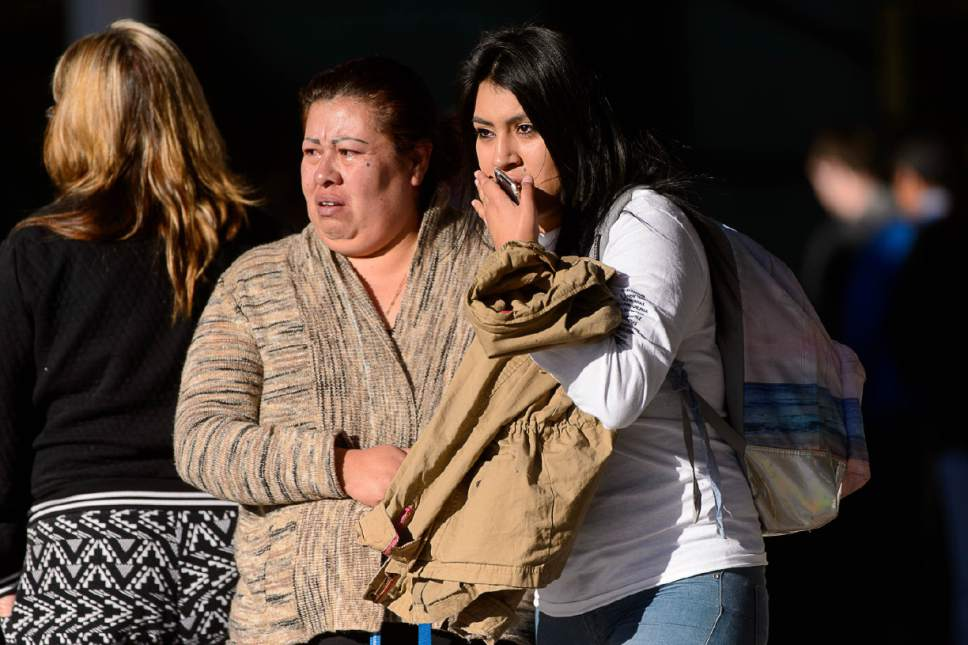 Trent Nelson     The Salt Lake Tribune Parents pick up their students after a 16-year-old boy allegedly stabbed several other male students before reportedly turning his knife on himself at Mountain View High School in Orem Tuesday November 15, 2016.