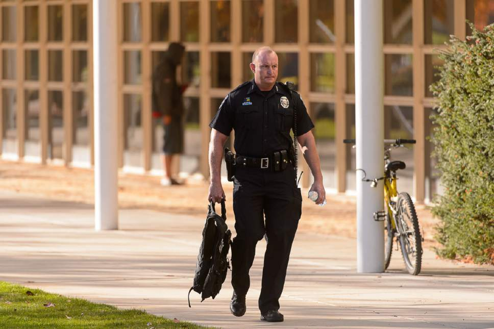 Trent Nelson     The Salt Lake Tribune Law enforcement after a 16-year-old boy allegedly stabbed several other male students before reportedly turning his knife on himself at Mountain View High School in Orem Tuesday November 15, 2016.
