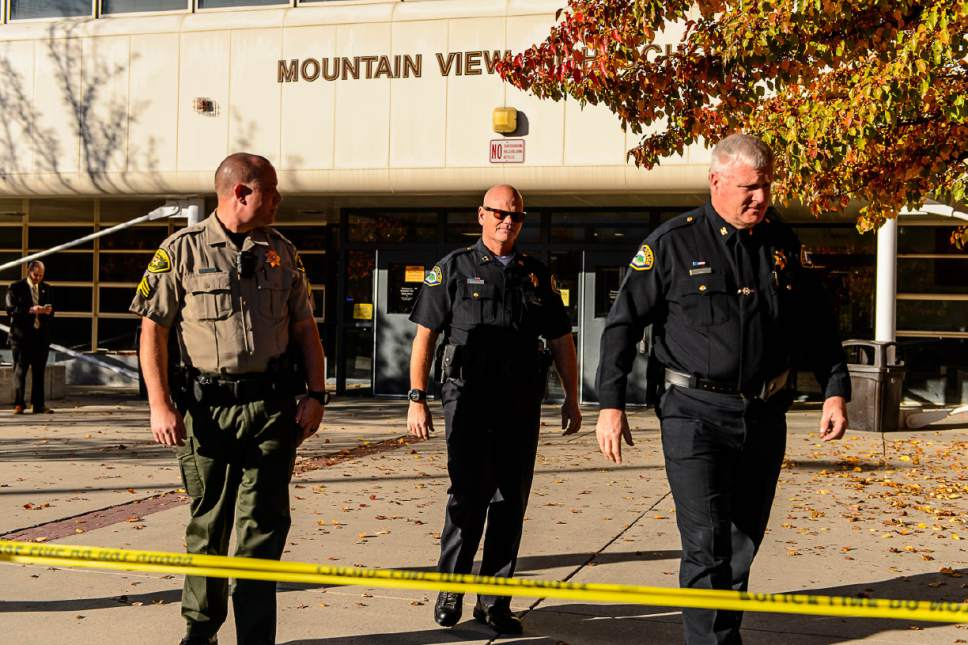 Trent Nelson     The Salt Lake Tribune Law enforcement on the scene after a 16-year-old boy allegedly stabbed several other male students before reportedly turning his knife on himself at Mountain View High School in Orem Tuesday November 15, 2016.
