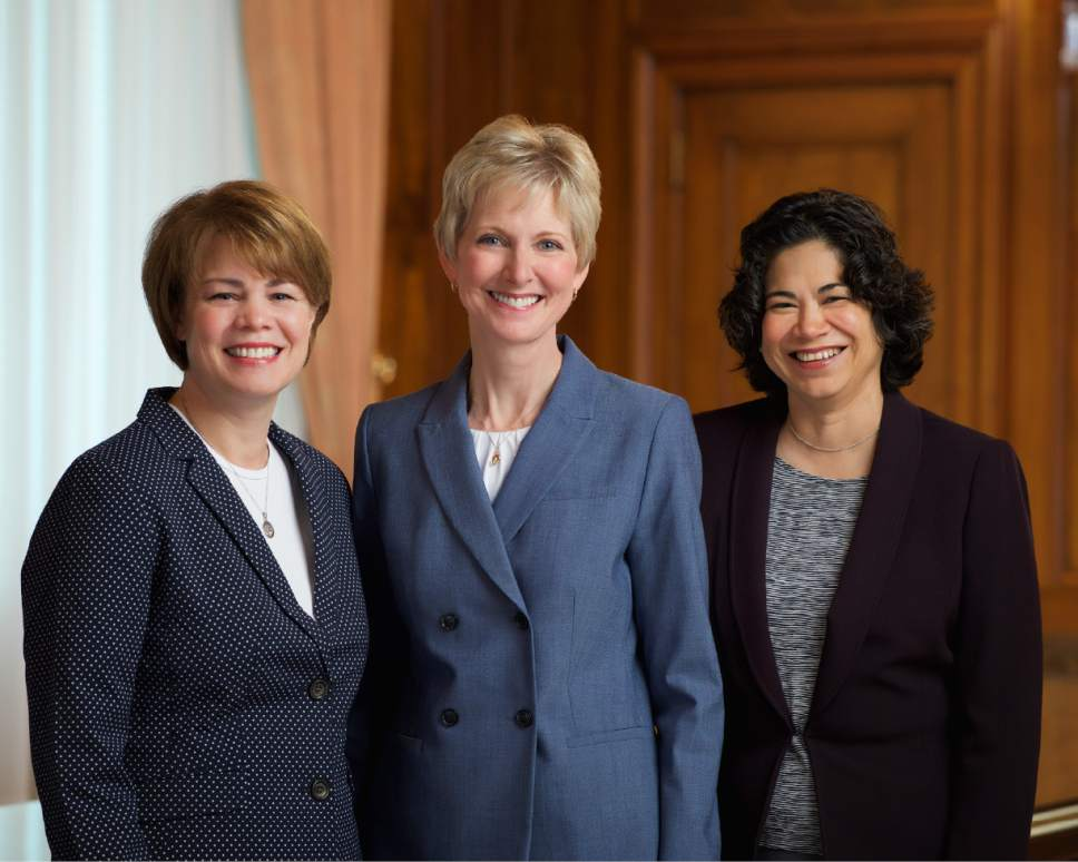 Relief Society General Presidency (left to right) Sharon Eubank, first counselor; Jean B. Bingham, president; Reyna I. Aburto, second counselor.