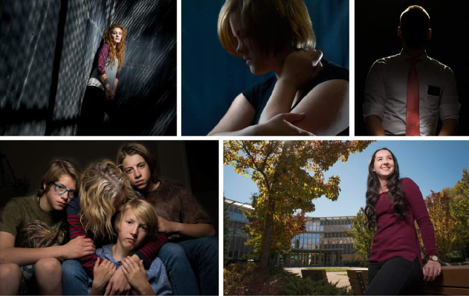 Photos by Leah Hogsten | Current and former BYU students who shared their stories with The Salt Lake Tribune, clockwise from top left: Brooke, who asked to be identified by her first name; Julie, who asked to be identified by her first name; Andy, who asked to be identified by his first name; Madi Barney, who agreed to the use of her full name; and Jennifer, who asked to be identified by her first name, and her three sons.