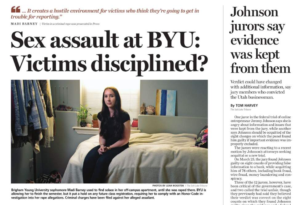 This article about the way victims of sex assault were treated at BYU was published on April 13, 2016. It was the first article in what was to become a series of stories examining sex assault on campuses across the state.