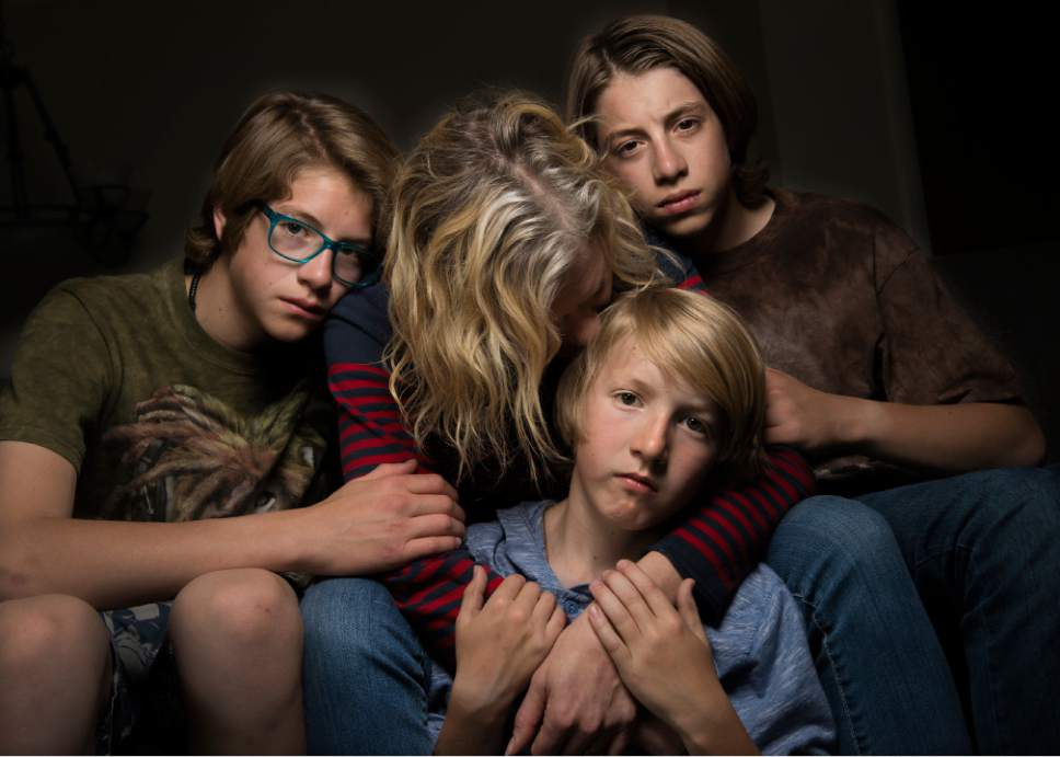 Leah Hogsten  |  The Salt Lake Tribune Jennifer, center, who asked to be identified by only her first name, said she was sexually assaulted while attending Brigham Young University more than 20 years ago. She and her husband have taught their three sons -- pictured here in May -- about healthy sexual behavior and boundaries.
