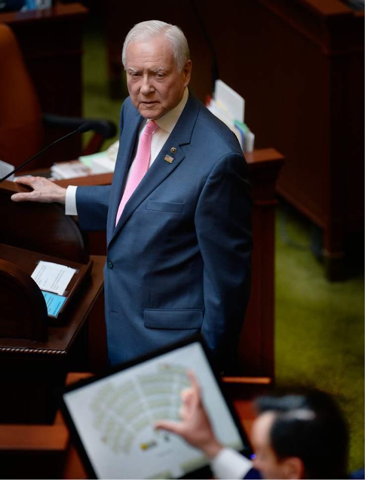 Scott Sommerdorf | The Salt Lake Tribune  U.S. Senator Orrin Hatch, R-Utah, turns to listen as Speaker of the House, Greg Hughes, R-Draper, thanks him for speaking to the House, Wednesday, February, 22, 2017.
