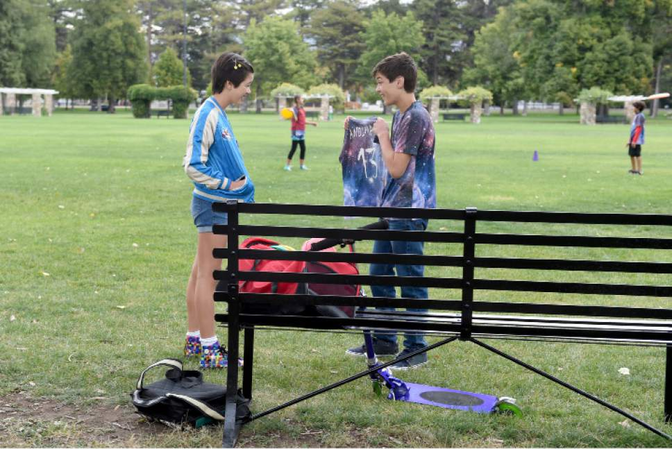 "Peyton Elizabeth Lee and Joshua Rush film a scene in Liberty Park in the new TV series ""Andi Mack."" Fred Hayes  