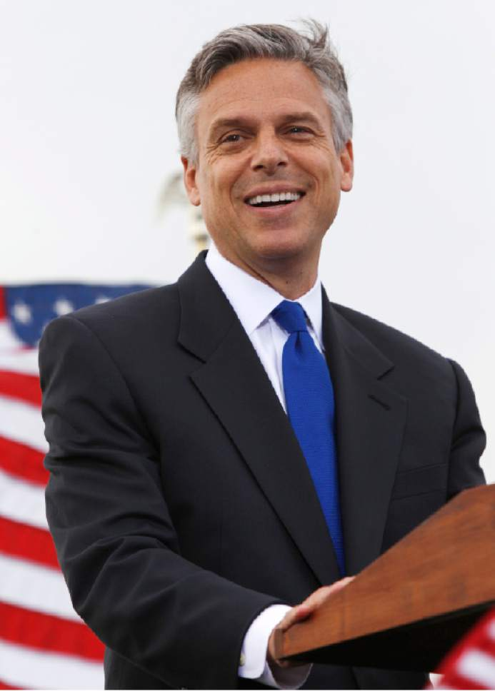 Former Utah Gov. Jon Huntsman Jr. announces his bid for the Republican presidential nomination, Tuesday, June 21, 2011, at Liberty State Park in Jersey City, N.J. (AP Photo/Mel Evans)