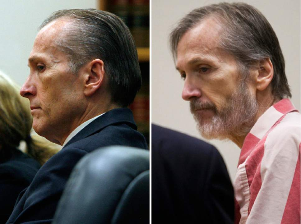 Photos by Scott Sommerdorf   |  The Salt Lake Tribune and Mark Johnston  |  Pool Photo  At left, Martin MacNeill listens to court proceedings after he was found guilty of murder and obstruction of justice early Saturday morning, November 9, 2013. On the right, Martin MacNeill leaves the courtroom after a hearing in his sex abuse case at 4th District Court in Provo Thursday, Jan. 23, 2014.