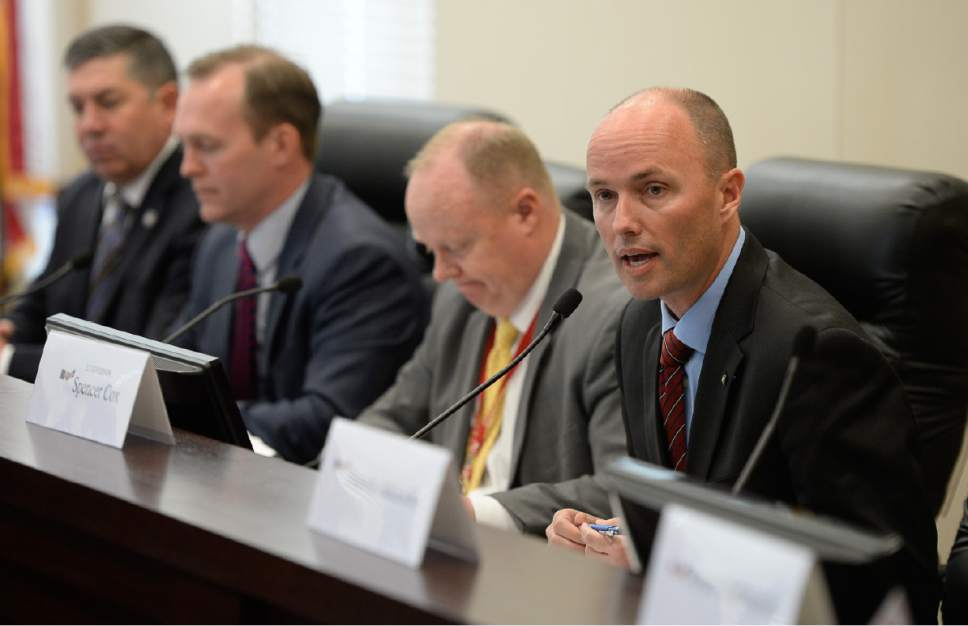 Francisco Kjolseth | The Salt Lake Tribune Lt. Gov. Spencer Cox, right, leads the State Homeless Coordinating Committee as they meet to ratify decision of Salt Lake County Mayor Ben McAdams to put the the one non-Salt Lake City homeless resource center in South Salt Lake at 3380 So. 1000 West. The group gathered at the Capitol Complex on Monday, April 10, 2017.