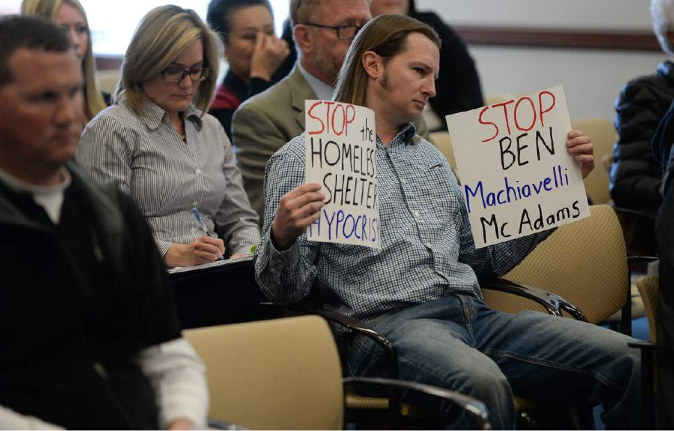 Francisco Kjolseth | The Salt Lake Tribune South Salt Lake resident Brad Holscher expresses his objection to a new homeless site as the State Homeless Coordinating Committee meets to ratify decision of Salt Lake County Mayor Ben McAdams to put the the one non-Salt Lake City homeless resource center in South Salt Lake at 3380 So. 1000 West. The group gathered at the Capitol Complex on Monday, April 10, 2017.